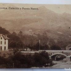 Postales: LIERGANES.- ESTACIÓN Y PUENTE NUEVO. Lote 126686427