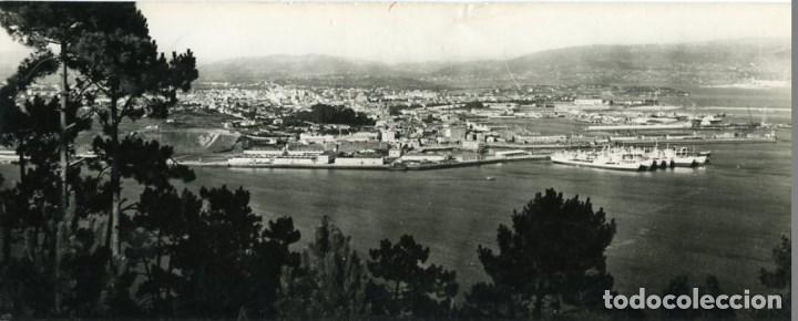 EL FERROL (CORUÑA). PANORÁMICA DE LA RÍA. POSTAL SUPERPANORÁMICA TAMAÑO 9X23 CM APROX....... (Postales - España - Cantabria Moderna (desde 1.940))