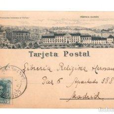 Postales: COBRECES. CANTABRIA.- MONASTERIO CISTERCIENSE VIA COELY Y FABRICA QUIROS LIT. RIO LUARCA. Lote 132035350