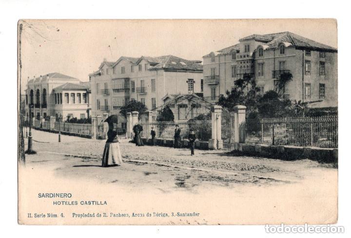 SANTANDER (CANTABRIA).- SARDINERO, HOTELES CASTILLA, II SERIE NUM.4, PROPIEDAD DE R. PACHECO (Postales - España - Cantabria Antigua (hasta 1.939))