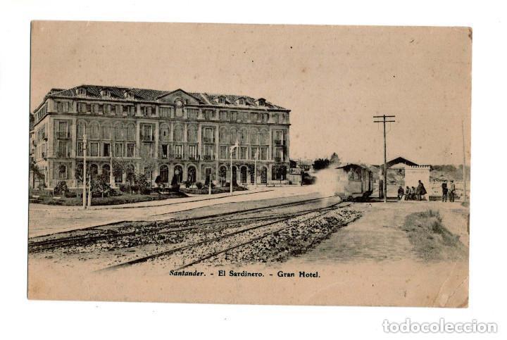 SANTANDER.- EL SARDINERO. GRAN HOTEL. TRANVÍA. HACIA 1910. (Postales - España - Cantabria Antigua (hasta 1.939))