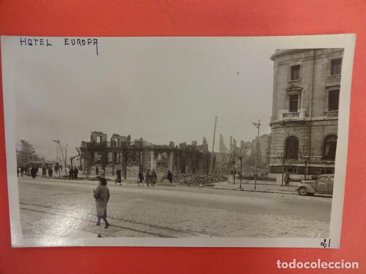 SANTANDER. INCENDIO 1941. POSTAL FOTOGRÁFICA. HOTEL EUROPA (Postales - España - Cantabria Moderna (desde 1.940))