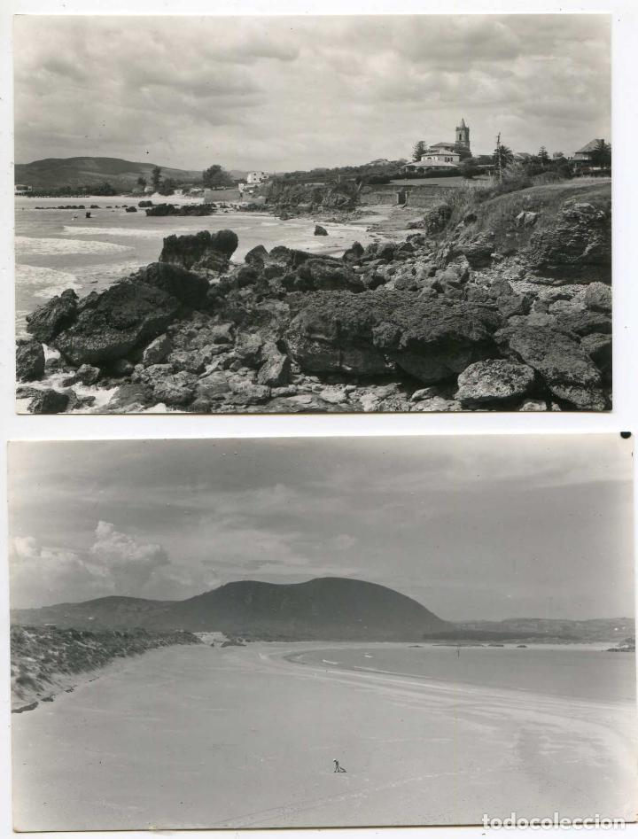 NOJA. DOS POSTALES. VISTA PARCIAL, Y PLAYA DE RIS. EDICIONES D. SOLAR (Postales - España - Cantabria Antigua (hasta 1.939))
