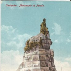 Postales: SANTANDER, MONUMENTO DE PEREDA - CASA FUERTES - SIN CIRCULAR. Lote 135358414