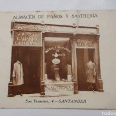 Postales: SANTANDER. ALMACEN DE PAÑOS Y SASTRERÍA. SAN FRANCISCO, 4 - (TIENDA DE M. GARAYO). Lote 140809868