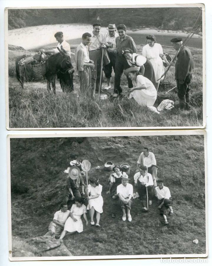 EXCURSIÓN FAMILIAR A LA PLAYA, DOS POSTALES FOTOGRÁFICAS 1942 LUGAR A IDENTIFICAR (Postales - España - Cantabria Antigua (hasta 1.939))