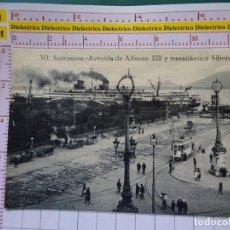 Cartes Postales: POSTAL DE CANTABRIA. AÑOS 10 30. SANTANDER, AVENIDA ALFONSO XIII Y BUQUE TRASATLÁNTICO SIBONEY. 1114. Lote 145362894