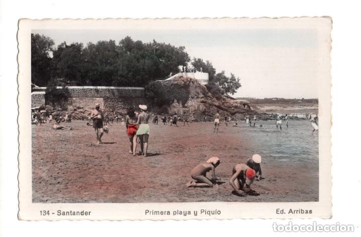 SANTANDER.- PRIMERA PLAYA Y PIQUIO (Postales - España - Cantabria Antigua (hasta 1.939))