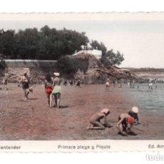 Postales: SANTANDER.- PRIMERA PLAYA Y PIQUIO. Lote 146163306