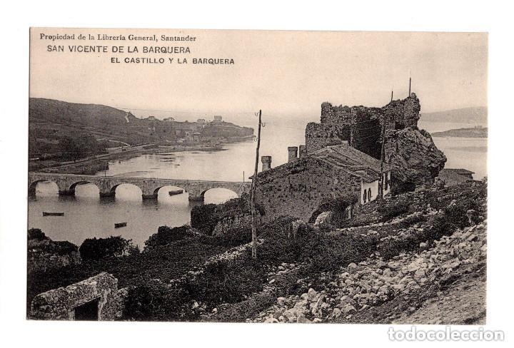 SAN VICENTE DE LA BARQUERA.(CANTABRIA).- EL CASTILLO Y LA BARQUERA (Postales - España - Cantabria Antigua (hasta 1.939))