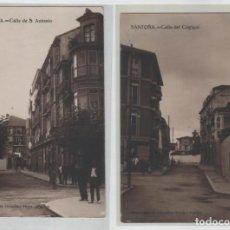 Postales: LOTE DE 3 POSTALES SANTOÑA CALLE DE LA RIBERA DEL CAGIGAL Y DE SAN ANTONIO. Lote 147179766