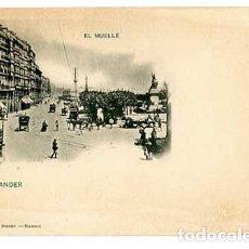 Postales: SANTANDER EL MUELLE HAUSER Y MENET 77 REVERSO SIN DIVIDIR. SIN CIRCULAR. Lote 147381838