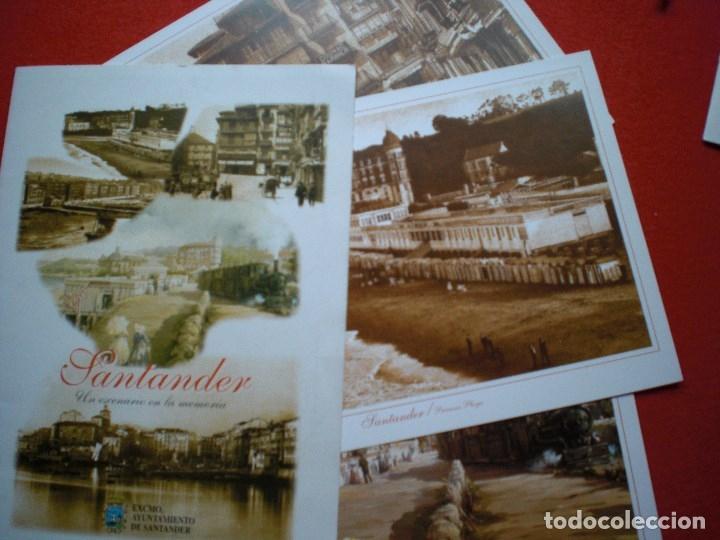 Postales: SANTANDER CANTABRIA LOTE LÁMINAS CALLE DEL PUENTE PLAYA TREN SARDINERO - Foto 2 - 147732002