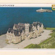 Postales: POSTAL VISTA AEREA PALACIO DE LA MAGDALENA. SANTANDER. Lote 151454054