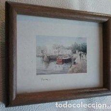 Postales: PEQUEÑO MARCO DE MADERA CON POSTAL DE SANTANDER, MOTIVO EL EMBARCADERO Y PEDREÑERAS.. Lote 154209446