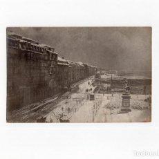 Postales: SANTANDER.(CANTABRIA).- PLAZA VELARDE Y EL MUELLE NEVADOS 1886. POSTAL FOTOGRÁFICA.. Lote 154933730