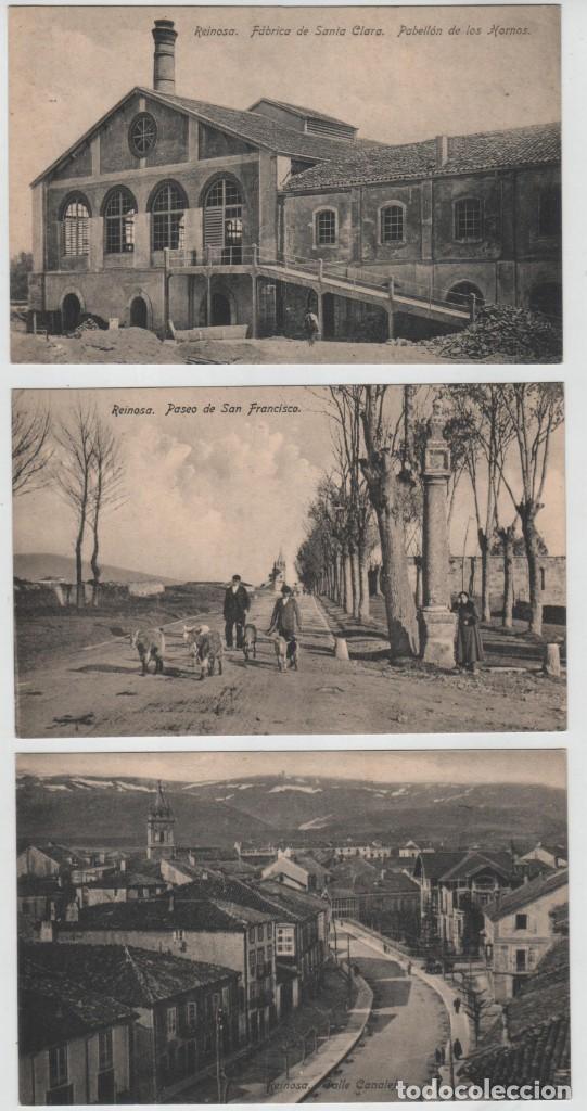 LOTE 3 POSTALES REINOSA CANTABRIA C CANALEJAS FABRICA SANTA CLARA PASEO S FRANCISCO COLECCIÓN IBERIA (Postales - España - Cantabria Antigua (hasta 1.939))