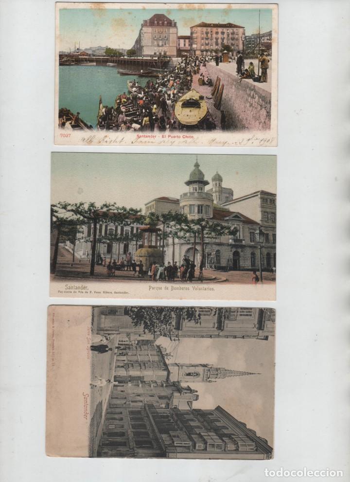 LOTE 3 POSTALES SANTANDER CANTABRIA BOMBEROS VOLUNTARIOS PUERTO CHICO TORRE SAN IGNACIO (Postales - España - Cantabria Antigua (hasta 1.939))