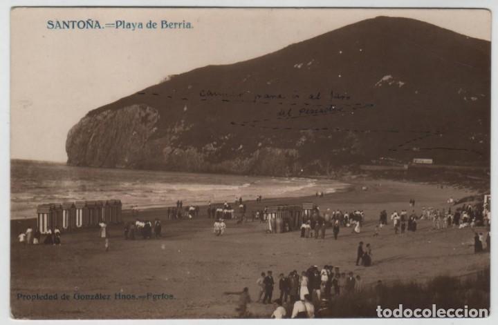 POSTAL SANTOÑA PLAYA DE BERRIA PROPIEDAD DE GONZALEZ HNOS FGFOS (Postales - España - Cantabria Antigua (hasta 1.939))