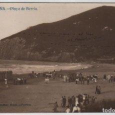 Postales: POSTAL SANTOÑA PLAYA DE BERRIA PROPIEDAD DE GONZALEZ HNOS FGFOS. Lote 162562950
