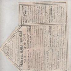 Postales: PUBLICIDAD FARMACIA MARINA UNIVESAL DE YARTO MONZÓN. SAN VICENTE DE LA BARQUERA. 27 X 20 CM. Lote 165897430