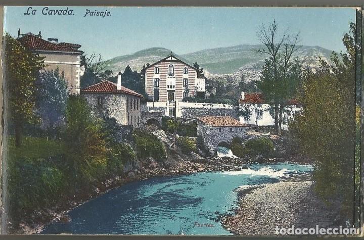 2 POSTALES DE LA CAVADA Y ONTANEDA -CANTABRIA ANTIGUA. PAISAJE Y BALNEARIO GRAN HOTEL- CASA FUERTES- (Postales - España - Cantabria Antigua (hasta 1.939))