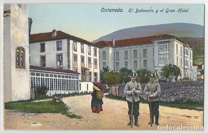 Postales: 2 POSTALES DE LA CAVADA Y ONTANEDA -CANTABRIA ANTIGUA. PAISAJE Y BALNEARIO GRAN HOTEL- CASA FUERTES- - Foto 2 - 168504796