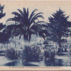 Postales: SANTANDER - EL ESTANQUE DE LOS JARDINES DE PEREDA. Lote 170326096