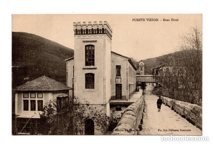 PUENTE VIESGO.(SANTANDER).- GRAN HOTEL .EDICIÓN EL GRAN HOTEL. FTO. LOS ITALIANOS SANTANDER COMPART (Postales - España - Cantabria Antigua (hasta 1.939))