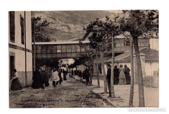 PUENTE VIESGO.- SANTANDER - ENTRADA AL BALNEARIO . LIBRERÍA DE M. ALBIRA, SANTANDER - HAUSER Y MENET (Postales - España - Cantabria Antigua (hasta 1.939))