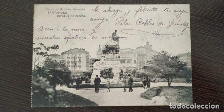 POSTAL DE SANTANDER. ESTATUA DE PEREDA. LIBRERIA DE M. ALBIRA. (Postales - España - Cantabria Antigua (hasta 1.939))