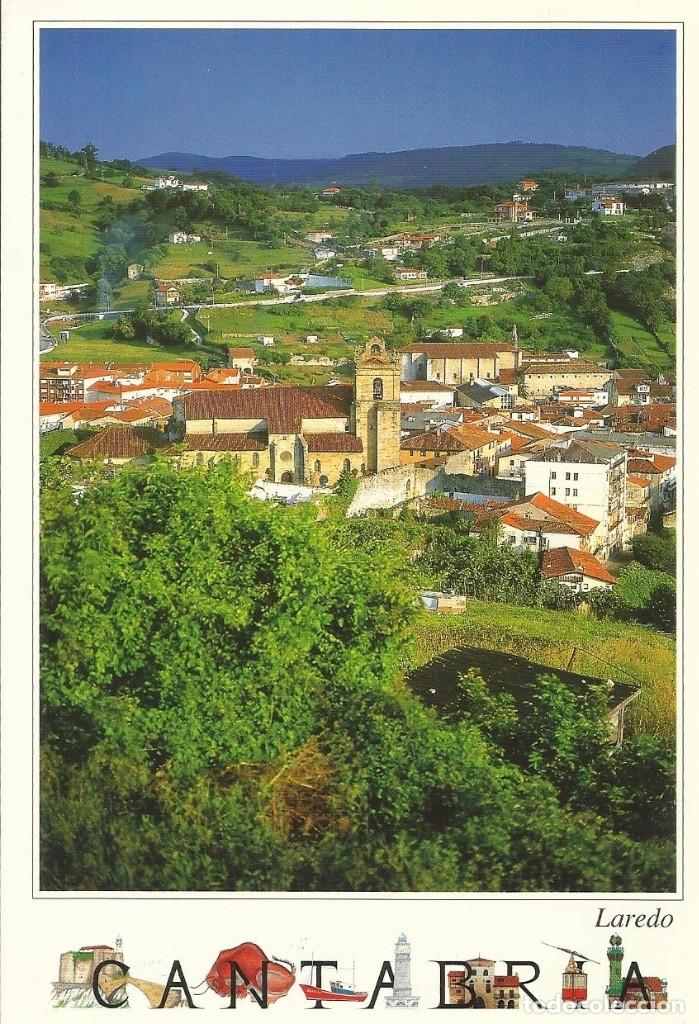 LAREDO. CANTABRIA. PUEBLA VIEJA E IGLESIA DE NUESTRA SRA. DE LA ASUNCIÓN. BUEN ESTADO. 10X15 CM. (Postales - España - Cantabria Moderna (desde 1.940))