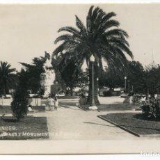 Postales: SANTANDER. JARDINES Y MONUMENTO A PEREDA, POSTAL FOTOGRÁFICA SIN REFERENCIA DE EDITOR. Lote 177725017