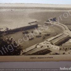 Postales: LAREDO. BAJAMAR EN EL PUERTO. AÑO 1956. Lote 179224502