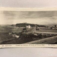 Postales: SANTANDER. POSTAL N.125, CASETA DE PRACTICOS . AL FONDO. EL PALACIO REAL (A.1960?). Lote 179552306