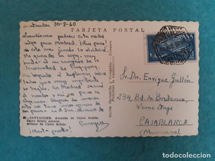 Postales: Santander. Avenida de Calvo Sotelo. Franqueada el 30 de Agosto de 1960. - Foto 2 - 180447270