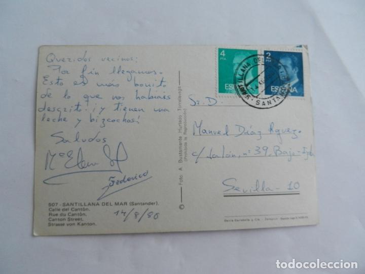 Postales: POSTAL 507 SANTILLANA DEL MAR-SANTANDER - CALLE DEL CANTÓN - 1980 - CIRCULADA . - Foto 2 - 182642366