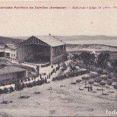Postales: COMILLAS (CANTABRIA) - SEMINARIO Y UNIVERSIDAD PONTIFICIA - EXPLANADA Y JUEGO DE PELOTA. Lote 189980210