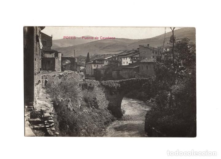 POTES.(CANTABRIA).- PUENTE DE SAN CAYETANO. POSTAL FOTOGRÁFICA. (Postales - España - Cantabria Antigua (hasta 1.939))