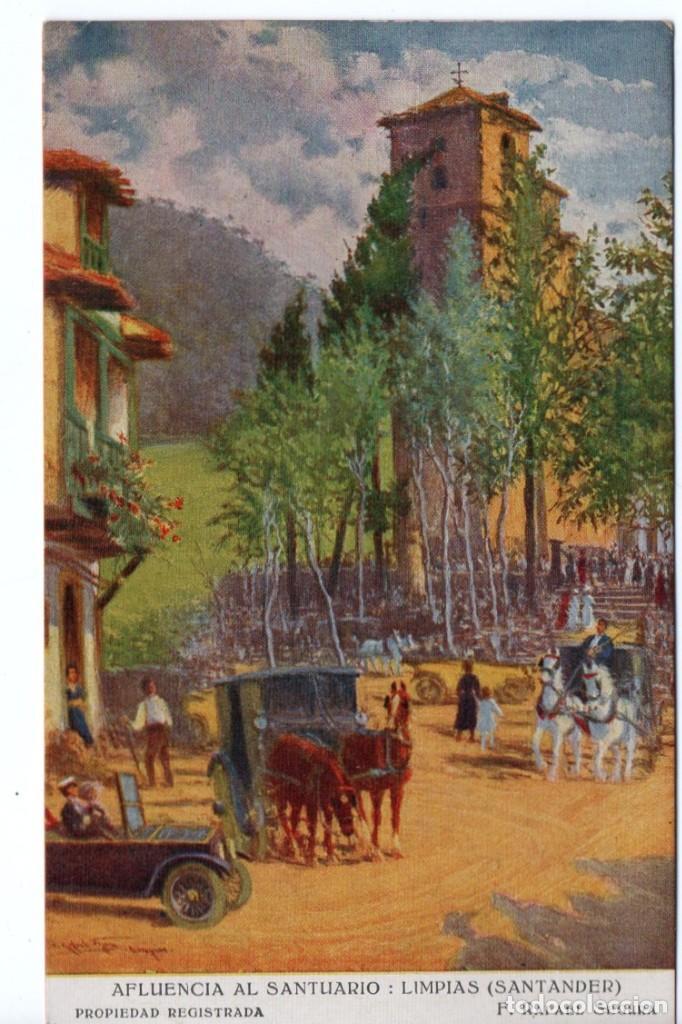 POSTAL DE AFLUENCIA AL SANTUARIO : LIMPIAS - SANTANDER - PROPIEDAD REGISTRADA (Postales - España - Cantabria Moderna (desde 1.940))