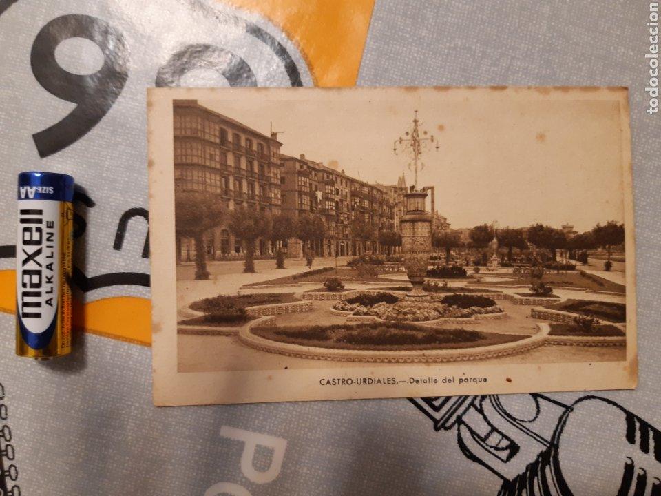 POSTAL CASTRO URDIALES DETALLE DEL PARQUE J GARCÍA FOTOGRAFO (Postales - España - Cantabria Antigua (hasta 1.939))