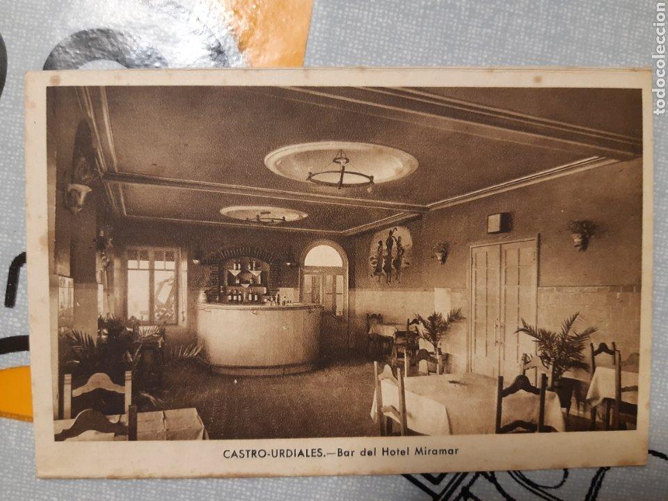 POSTAL CASTRO URDIALES BAR DEL HOTEL MIRAMAR J GARCÍA FOTOGRAFO (Postales - España - Cantabria Antigua (hasta 1.939))