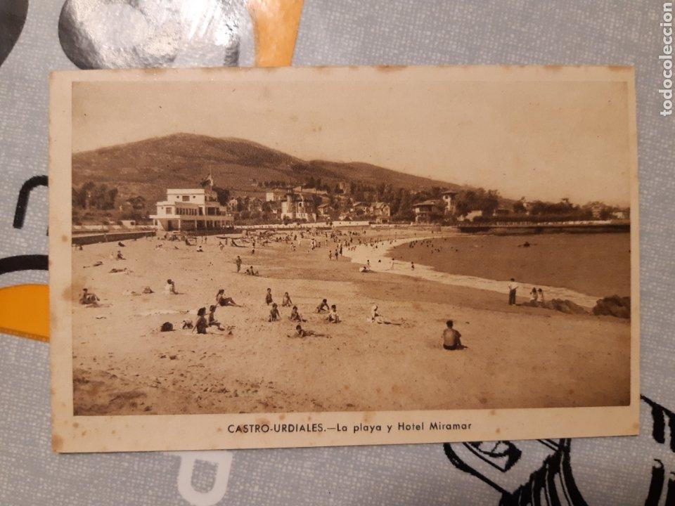 POSTAL CASTRO URDIALES LA PLAYA Y HOTEL MIRAMAR J GARCÍA FOTÓGRAFO (Postales - España - Cantabria Antigua (hasta 1.939))