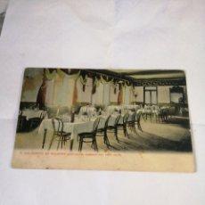 Postales: 7. BALNEARIO DE SOLARES. (SANTANDER). COMEDOR DEL GRAN HOTEL. CIRCA 1900. COLOREADA. UNION POSTAL. Lote 194498613