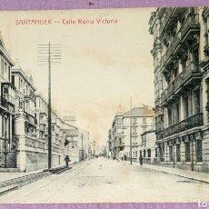 Postales: ANTIGUA POSTAL DE SANTANDER - CALLE REINA VICTORIA. FOTOTIPIA CASTIÑEIRA Y ÁLVAREZ SIN CIRCULAR. Lote 194647778