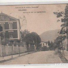 Postales: LIBRERÍA DE M. ALBIRA. SOLARES. HOTELES DE LA CARRETERA. CIRCULADA EN 1913 A ASTURIAS.. Lote 194658090