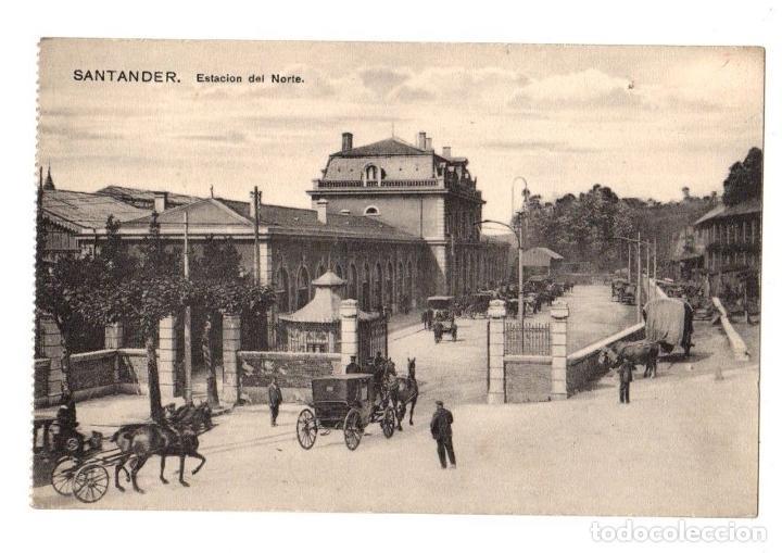 TARJETA POSTAL SANTANDER. ESTACION DEL NORTE. AÑO 1916 (Postales - España - Cantabria Antigua (hasta 1.939))