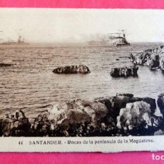 Postales: TARJETA POSTAL - SANTANDER Nº 44 ROCAS DE LA PENINSULA DE LA MAGDALENA - ESCRITA 1931 CON SELLO - . Lote 197236821