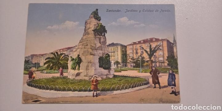 POSTAL SANTANDER . JARDINES Y ESTATUAS DE PEREDA. COLOREADA (Postales - España - Cantabria Antigua (hasta 1.939))