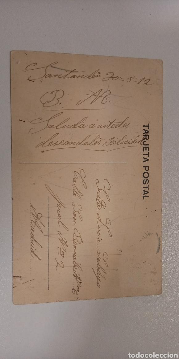 Postales: Postal Santander Ayuntamiento. Coloreada y fechada en 1912. - Foto 2 - 197582287